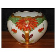 Pickard Hand Painted Poinsettia Jardiniere Artist Signed - Tolley