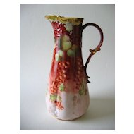 "Hand Painted Limoges Pitcher, ""Currants"", by Pickard Artist REAN"