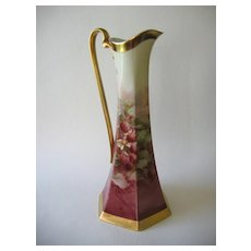 """LEYKAUF Signed Hand Painted Limoges Pitcher, """"Red Raspberries"""""""