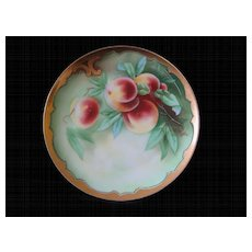 Stouffer Hand Painted Limoges Plate PEACHES, signed KIEFUS