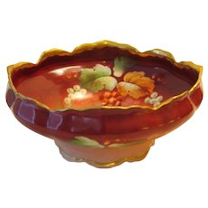 Pickard Hand Painted Footed Center Bowl - Autumn Currants - Signed LEON