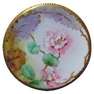 Hand Painted Ginori Italian Plate PINK BLOSSOMS Signed P.BELLI