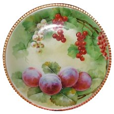 Hand Painted Ginori Italian Plate CURRANTS AND PLUMS Signed L. PIERI