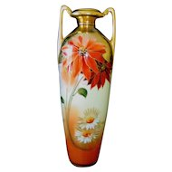 "Pickard Hand Painted 12"" Vase, Poinsettias and Marguerites, signed Gasper"