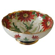 "Brauer Studio Hand Painted 9-3/8"" Limoges Poinsettia Center Bowl 1910-16"