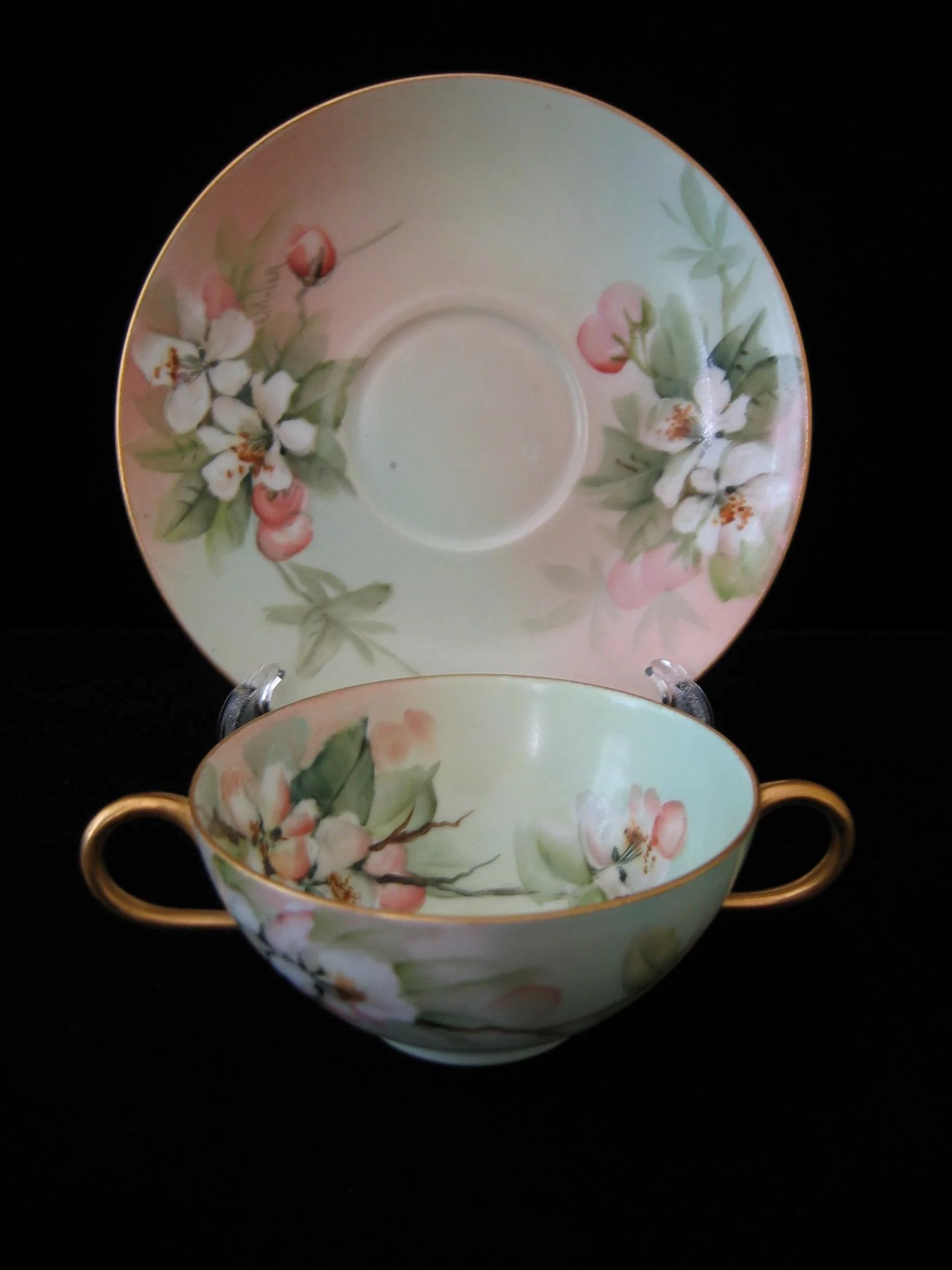 Bouillon Cup And Saucer Hand Painted Limoges Signed E