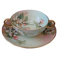 Bouillon Cup and Saucer Hand Painted Limoges, Signed E Miler