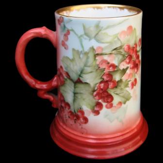 Hand Painted Limoges Mug, Currants, Artist Signed E.Miler