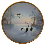 Stouffer Studio Hand Painted Vellum Plate, Cranes in Lake Scene, Artist Signed JEL
