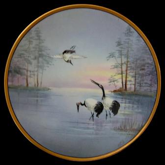 Stouffer Studio Hand Painted Vellum Plate, Cranes in Lake Scene, Artist Signed JEL