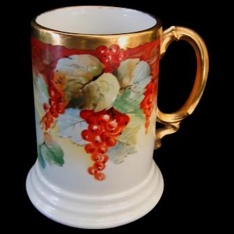 Hand Painted Limoges Currants Mug, Artist Signed GERARD