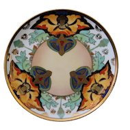 Brauer Hand Painted Limoges Plate, Conventionalized Floral 1910-16