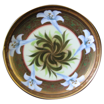 Pickard Hand Painted Easter Lily Plate artist signed BLAZEK