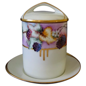 Hand Painted Condensed Milk, or Marmalade Jar and Underplate, Artist signed