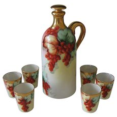 Hand Painted Currants Liquor Decanter and 6 Cups, Artist Signed