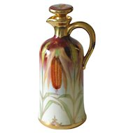 Whiskey Decanter w/Stopper, Brauer Hand Painted Corn Motif, Artist Signed Kammermayer