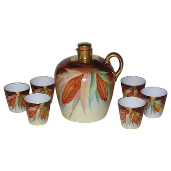 Brauer Hand Painted Decanter and 6 Cups, Corn Motif, Signed Kammermayer