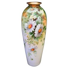Hand Painted DAISIES Vase, Donath Studio, Artist Signed PFOHL