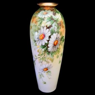 Hand Painted DAISIES Vase, Donath Studio, Artist Signed PFOHL
