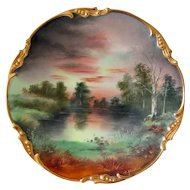 "Hand Painted Limoges Plate, ""Lakeside Scenic"", Signed HEIDRICH,  Donath Studio"