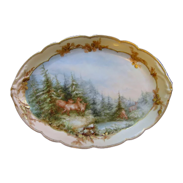 "George Leykauf 20.5"" Tray Platter Hand Painted Limoges"