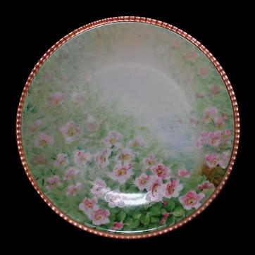 GINORI Hand Painted Plate, Wild Roses Artist Signed LUMI