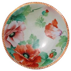 GINORI Hand Painted Plate, Red Poppies, Artist Signed NERI