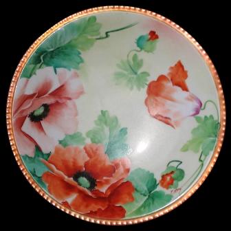GINORI Hand Painted Plate, Red Poppies, Artist Signed NERI