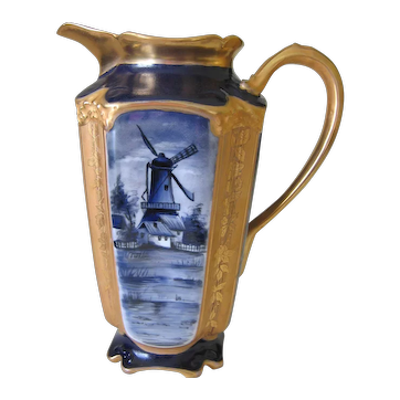Hand Painted Limoges Chocolate Pot, Dutch Scenes, White's Art Co.