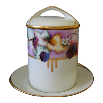 Hand Painted Condensed Milk, or Marmalade Jar with Underplate, Artist Signed