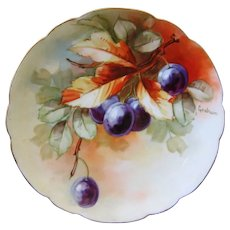 Hand Painted Plums Plate, Artist Signed