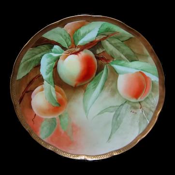"""Ginori Italian Hand Painted Peaches Plate 8-3/4"""""""
