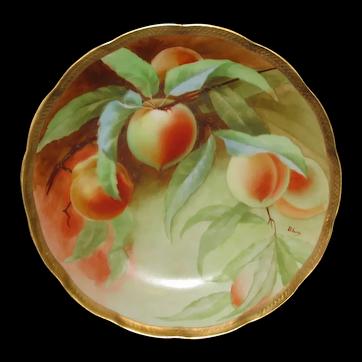 """Ginori Italian Hand Painted Peaches Cake Plate 10-3/8"""""""