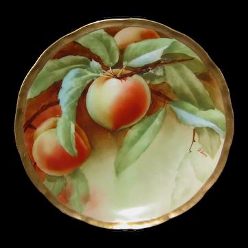 """Ginori Italian Hand Painted Peaches Plate 7-5/8"""""""