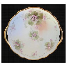 Hand Painted 'Spring Florals' Cake Plate- Signed by Pickard Artist REURY