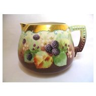 "Hand Painted American Belleek ""Blackberries"" Cider or Lemonade Pitcher Artist Signed KIEFUS"
