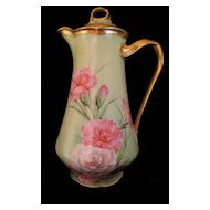 Hand Painted Ginori Italian Chocolate Pot 'Carnations' Artist Signed