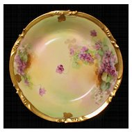 Limoges Hand Painted Pickard VIOLETS Bowl Artist Signed REURY