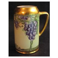 Hand Painted Bavarian Grapes Tankard Signed E.W.Koenig
