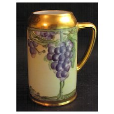 Hand Painted Bavarian Grapes Tankard Signed E.W.Koenig