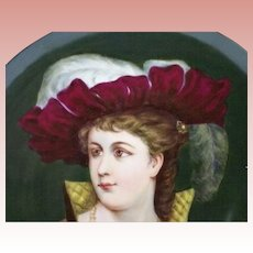 BEAUTIFUL T&V (Tressemann & Vogt) Limoges PORTRAIT Plate --Signed and Dated