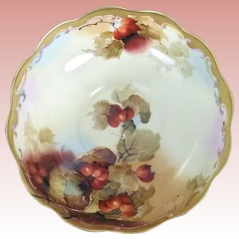 Superb T&V (Tressemann & Vogt) Limoges CURRANT Punch Bowl signed KLIPPHAHN (Pickard Artist)