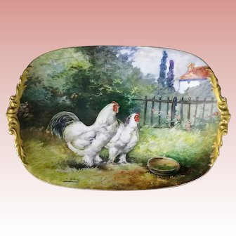 MASSIVE Museum QUALITY JPL (Jean Pouyat) Platter, Hand Painted and SIGNED, Barnyard Bantam Chickens