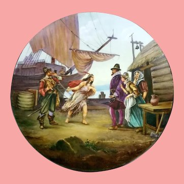 Huge 14 inch D & Co. (Delinieres) Limoges Charger, Hand Painted Scenic Plate with Pocahontas, Signed and Dated 1913