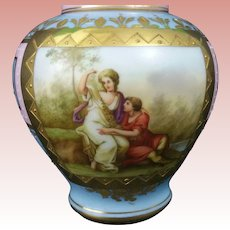 Royal Vienna LIDDED Blue Beehive REIMER SIGNED Scenic Portrait Vase