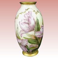 Pristine BELLEEK Lenox CAC (Ceramic Art Company) VASE -- Hand Painted TULIPS