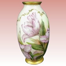 Pristine BELLEEK Lenox CAC (Ceramic Art Company) VASE -- Hand Painted TULIPS