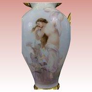 Magnificent ELITE WORKS (Bawo & Dotter) Limoges NUDE Portrait Vase, Hand Painted, SIGNED, Romanticism, RARE Teardrop MOLD
