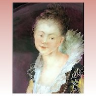 IMPRESSIVELY Large T&V Limoges Wall Plaque - PORTRAIT of a BEAUTIFUL Elizabethan Woman, Hand Painted and SIGNED