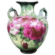 Exquisite BELLEEK Lenox CAC (Ceramic Art Company) VASE -- Magenta CABBAGE Roses, ORNATE Handles, Hand Painted